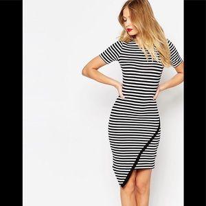 ASOS Striped Asymmetric Body Con Dress
